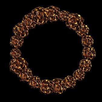 Bel élément, or, rose, stuc, ornement, cadre. illustration 3d