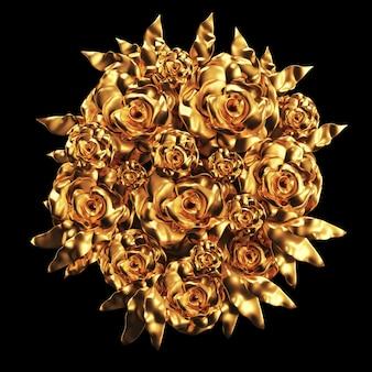 Bel élément, or, rose, stuc, ornement, cadre. rendu 3d.