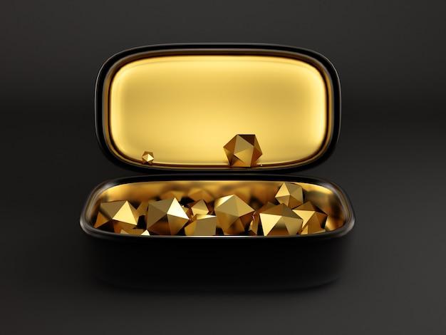 Bel emballage cadeau festif, à l'intérieur doré sur fond noir. illustration 3d, rendu 3d.