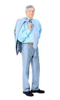 Bel homme d'affaires à l'âge de. isolé sur fond blanc.