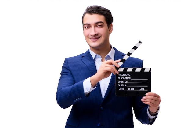 Bel homme avec film clap