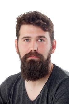 Bel homme avec une longue barbe