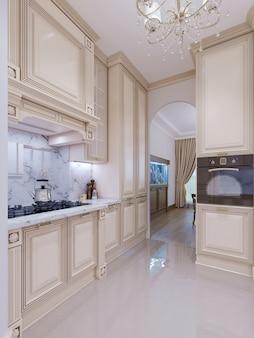 Bel intérieur de cuisine dans une nouvelle maison de luxe avec vue sur le salon. conception de plan d'étage ouvert spacieux. rendu 3d