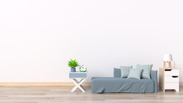 Bel intérieur propre sur fond de mur blanc