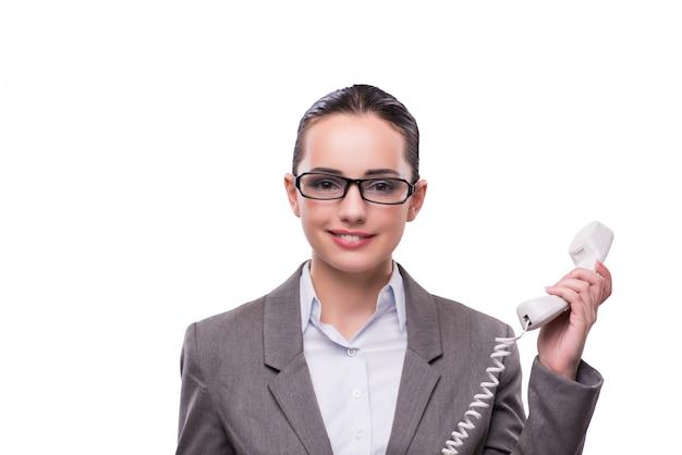 Bel opérateur de centre d'appel élégant isolé sur blanc