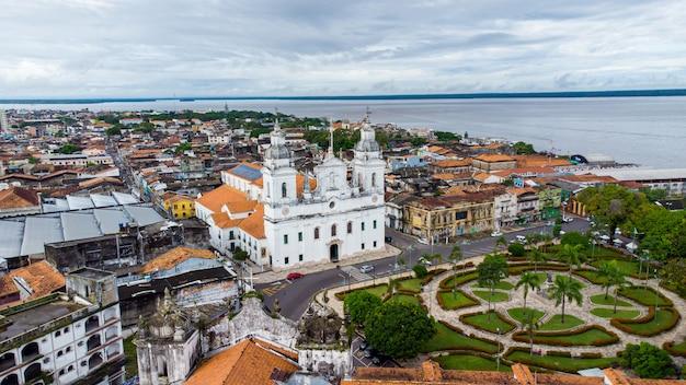 Belem, para, brésil - circa mai 2021 - vue aérienne de la cathédrale métropolitaine de belem ou