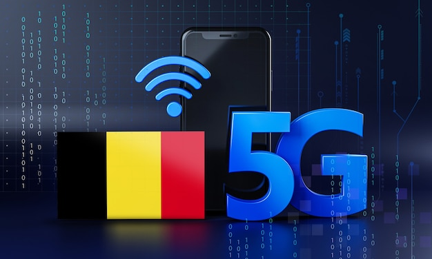 La belgique est prête pour le concept de connexion 5g. fond de technologie smartphone de rendu 3d