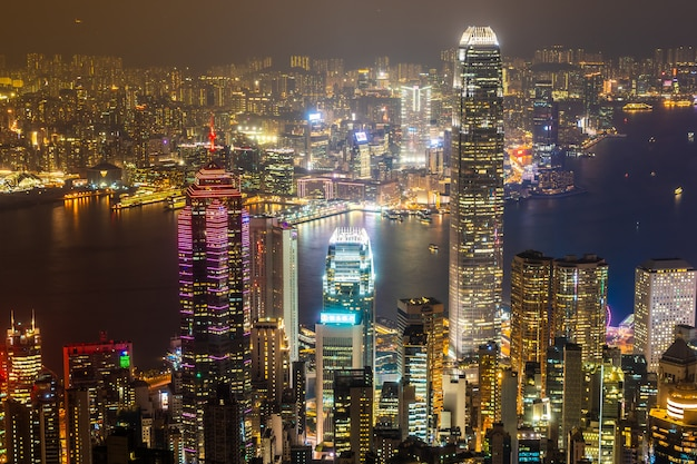 Belle architecture bâtiment cityscape extérieur des toits de la ville de hong kong