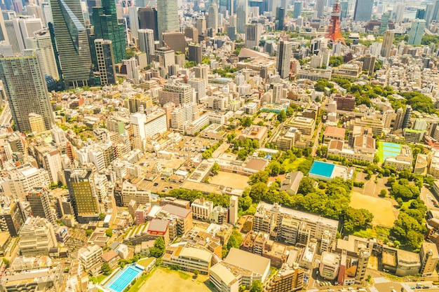 Belle architecture bâtiment paysage urbain de tokyo