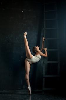 Belle ballerine posant contre dark
