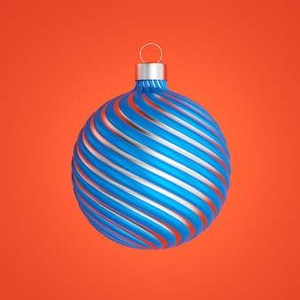 Belle boule de noël isolée sur orange profond, illustration 3d