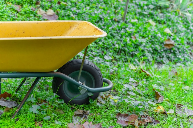 Belle brouette jaune fond d'automne avec des feuilles concept bois de bûcheron