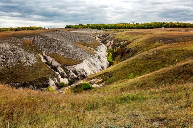 Belle carrière d'automne avec de l'herbe multicolore. magnifique paysage.