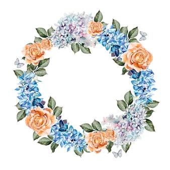 Belle carte aquarelle avec fleur de roses et hortensia. couronne de mariage. illustration