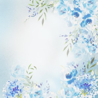 Belle carte aquarelle avec des fleurs de roses, d'hortensia et de pivoine.