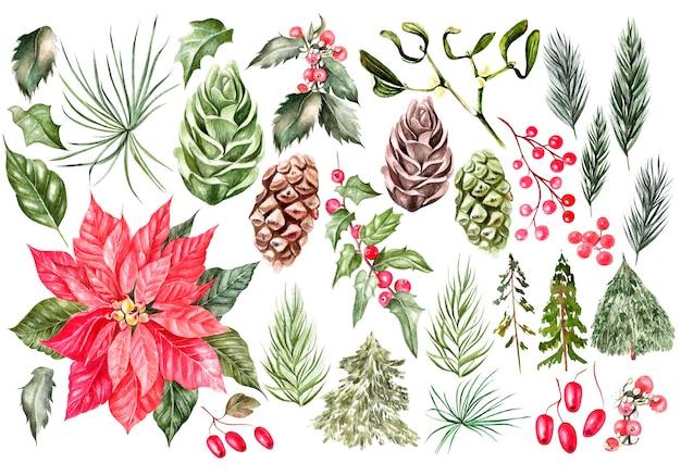 Belle carte de noël à l'aquarelle avec des cadeaux de noël, des jouets, des ornements. un arbre de noël et des cônes.