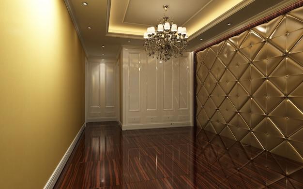 Belle chambre chaude et lumineuse décorée avec un lustre et du carrelage