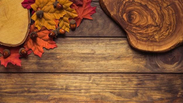 Belle composition d'automne avec des feuilles et du bois
