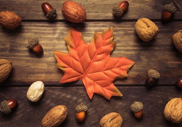 Belle composition d'automne de feuilles et de noix