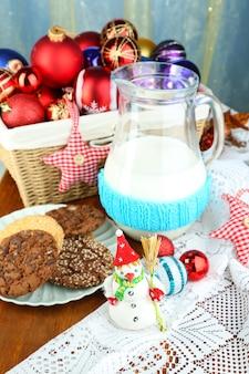 Belle composition de noël avec gros plan de lait