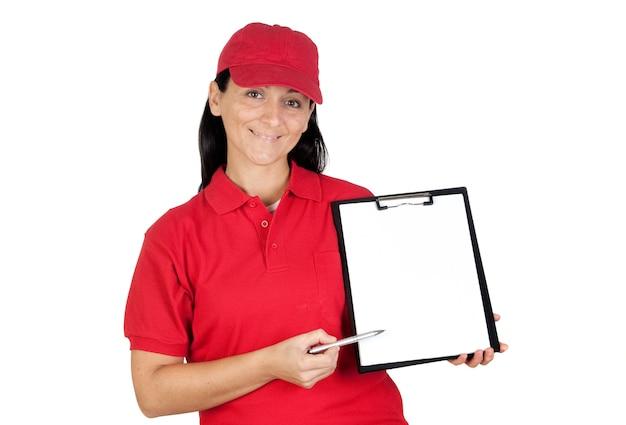 Belle concessionaire avec presse-papiers pour obtenir la signature isolée sur fond blanc