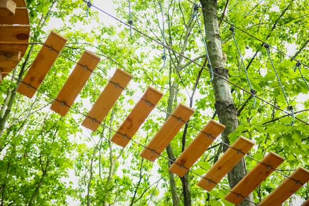 Belle corde et filet d'escalade dans le parc sur la nature
