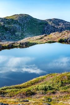 Belle côte de la mer du nord par une belle journée ensoleillée. magnifique paysage. verticale.
