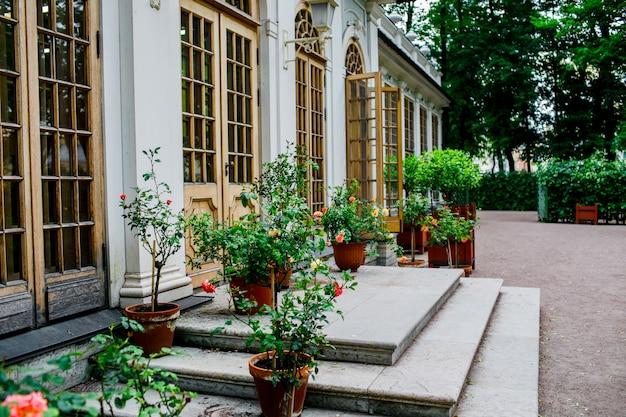 Belle cour arrière avec des fleurs. extérieur de jolie maison.