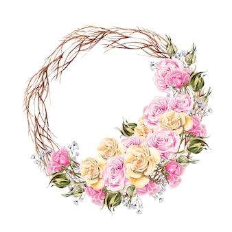 Belle couronne d'aquarelle avec des fleurs et des bourgeons de roses. faire-part de mariage.