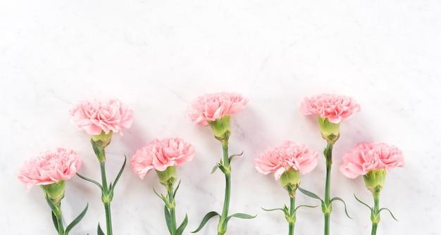 Belle et élégante fleur d'oeillet rose sur une table en marbre blanc brillant