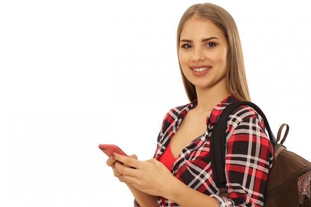 Belle étudiante avec un sac à dos