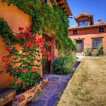 Belle façade de maisons en pierre avec des plantes colorées et des fleurs à l'entrée.
