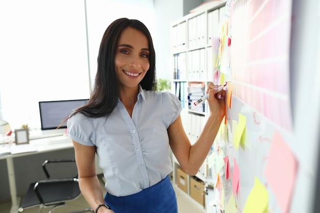 Belle femme brune caucasienne souriante écrit quelque chose sur le tableau blanc