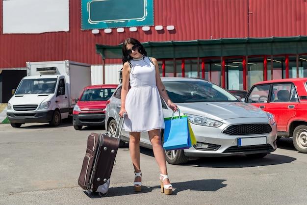 Belle femme brune avec valise et sacs à provisions