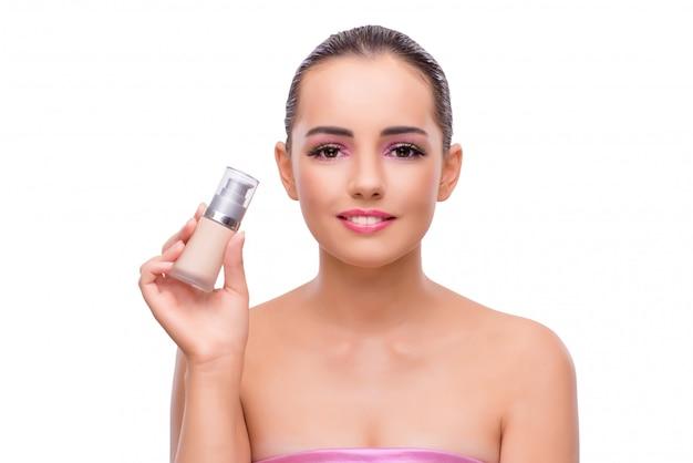Belle femme dans le concept de maquillage isolé sur blanc