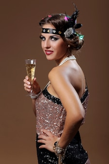 Belle femme main de vin