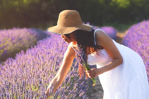 Belle femme en robe blanche cueillant de la lavande et tenant un bouquet de lavande d'autre part