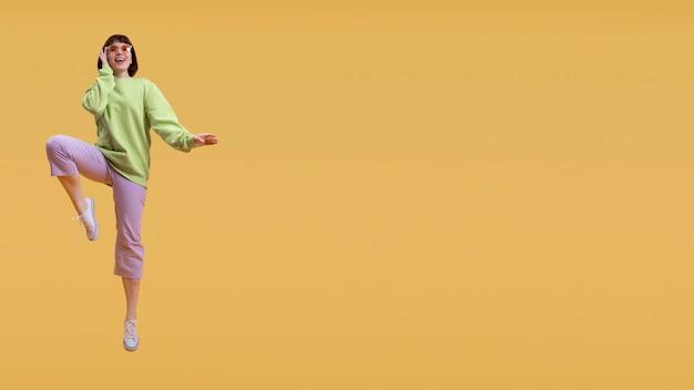 Belle femme sautant isolé sur orange