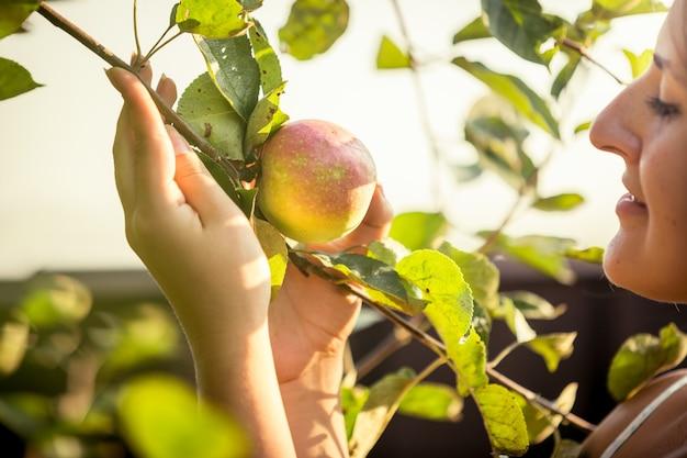 Belle femme tenant une pomme mûre avec soin au jardin