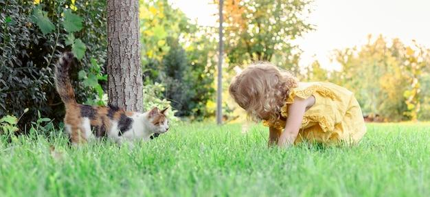 Belle fille blonde bouclée joue avec un chat domestique sur l'herbe