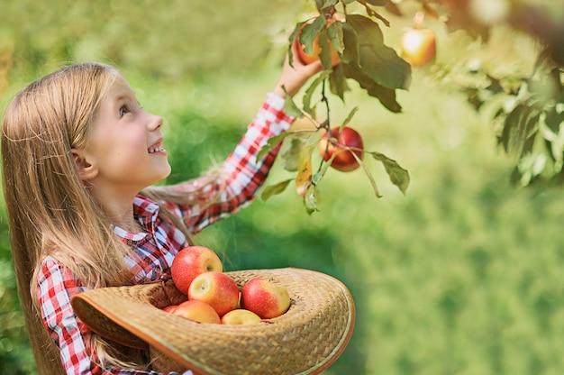 Belle fille mangeant des pommes biologiques dans le verger