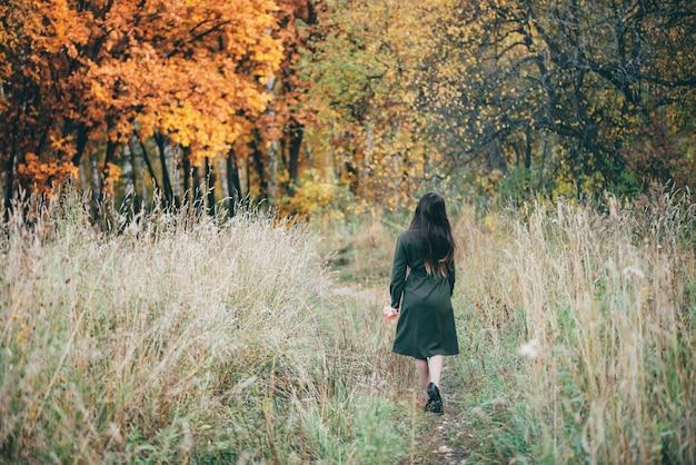Belle fille rêveuse avec de longs cheveux noirs naturels sur fond avec des feuilles colorées.