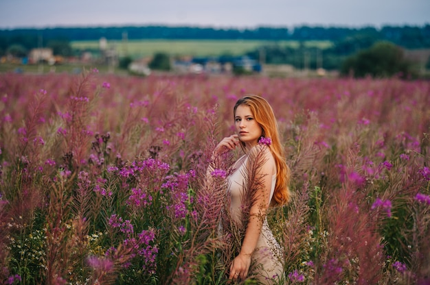 Belle fille rousse vêtue d'une robe dans un champ de fleurs de thé au saule.