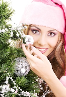 Belle fille de santa helper décoration arbre de noël