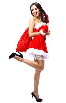 Belle Fille Sexy Portant Des Vêtements De Père Noël Photo Premium