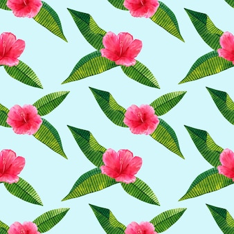 Belle fleur d'hibiscus rose avec des feuilles tropicales vertes. modèle sans couture. illustration aquarelle dessinée à la main.