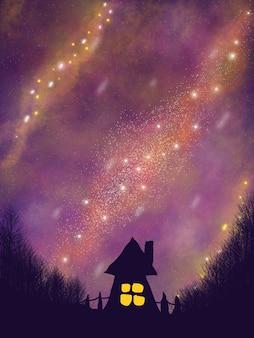 Belle galaxie de l'espace de nuit avec maison en forêt