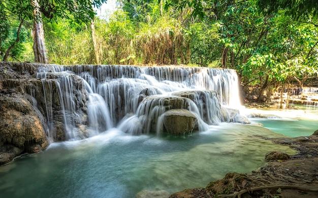Belle grande chute d'eau qui coule entre des rochers dans une forêt d'un vert profond.
