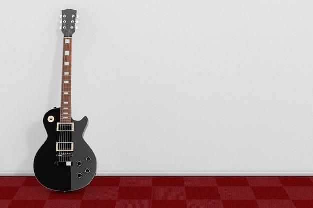 Belle guitare électrique noire dans un style rétro devant un mur blanc. rendu 3d