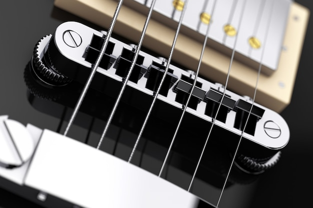 Belle guitare électrique noire en gros plan extrême de style rétro. rendu 3d